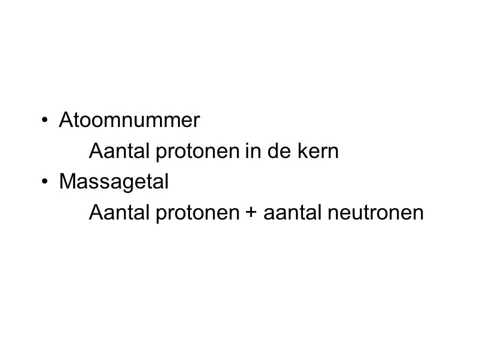 Atoomnummer Aantal protonen in de kern Massagetal Aantal protonen + aantal neutronen