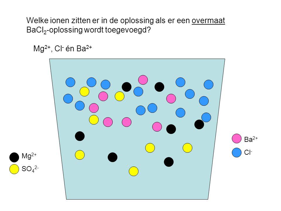 Welke ionen zitten er in de oplossing als er een overmaat BaCl2-oplossing wordt toegevoegd