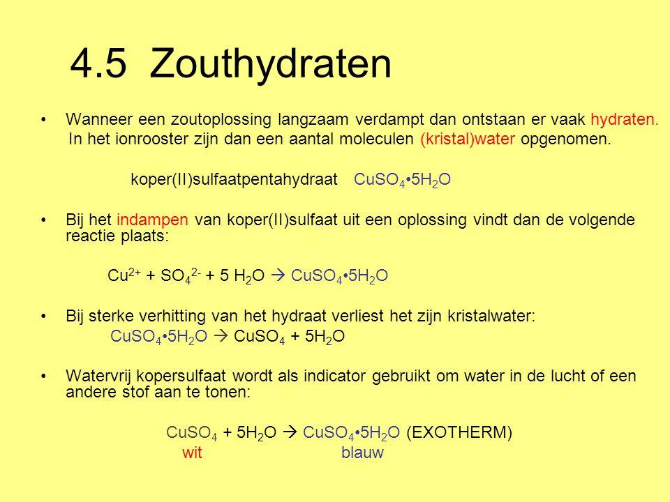 4.5 Zouthydraten Wanneer een zoutoplossing langzaam verdampt dan ontstaan er vaak hydraten.