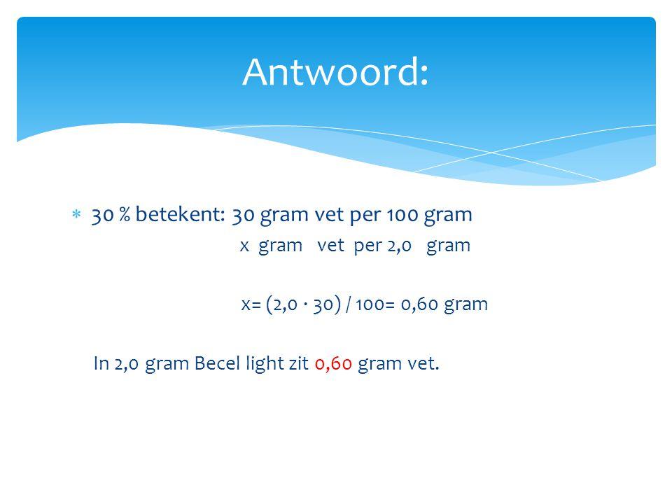 Antwoord: 30 % betekent: 30 gram vet per 100 gram