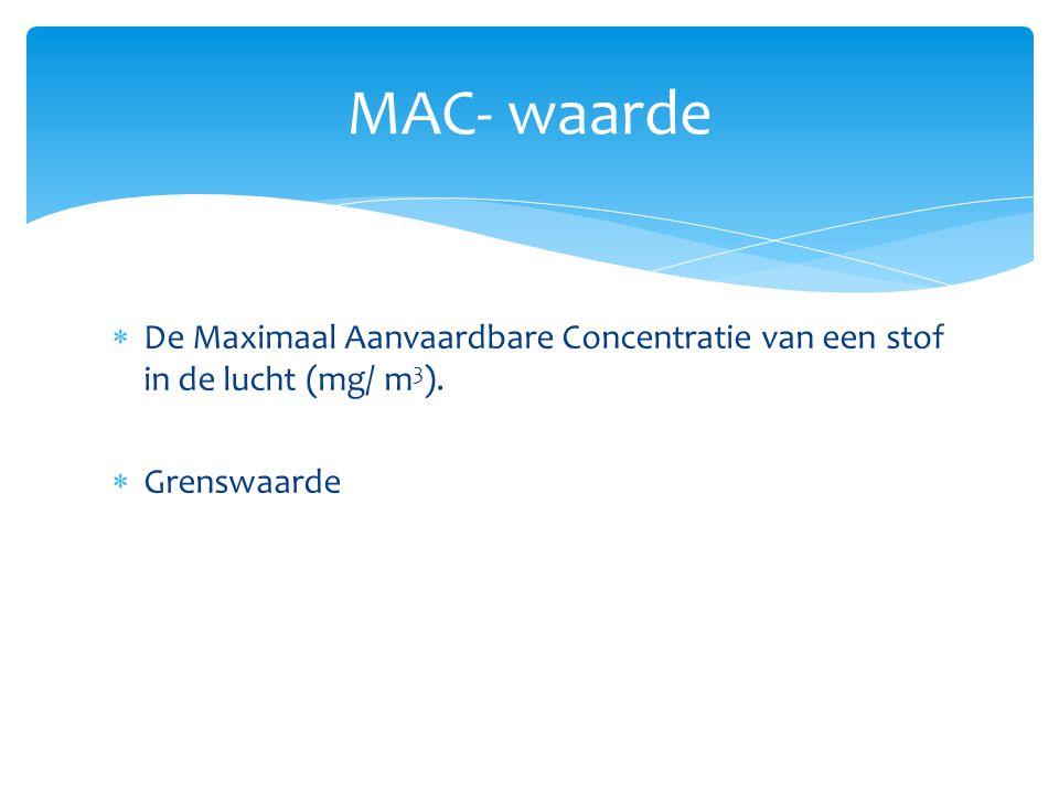 MAC- waarde De Maximaal Aanvaardbare Concentratie van een stof in de lucht (mg/ m3). Grenswaarde