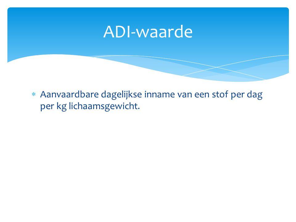 ADI-waarde Aanvaardbare dagelijkse inname van een stof per dag per kg lichaamsgewicht.