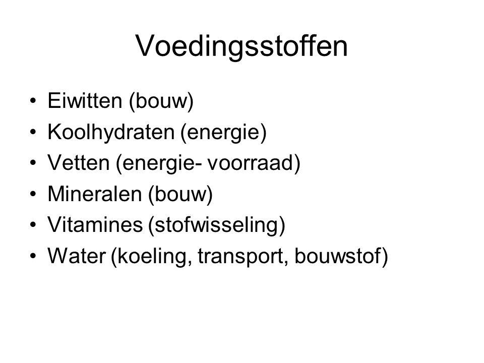 Voedingsstoffen Eiwitten (bouw) Koolhydraten (energie)