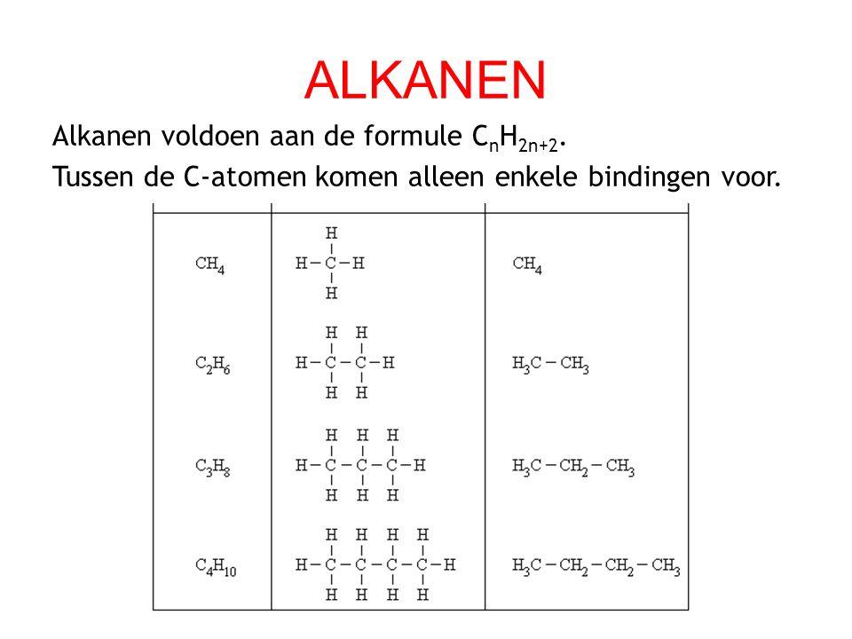 ALKANEN Alkanen voldoen aan de formule CnH2n+2.