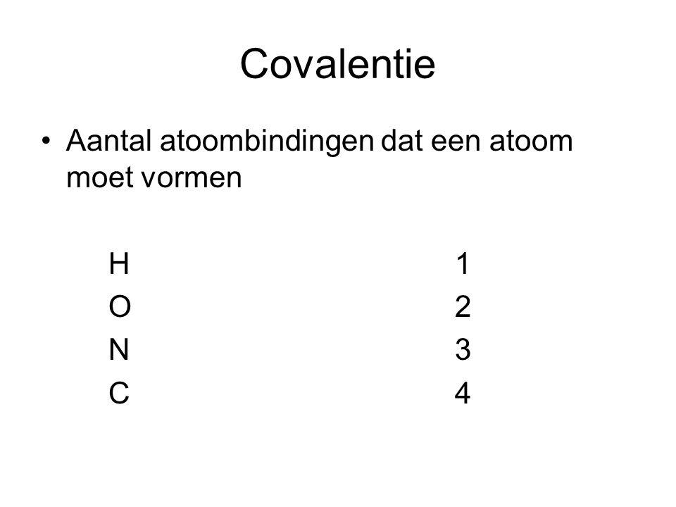 Covalentie Aantal atoombindingen dat een atoom moet vormen H 1 O 2 N 3