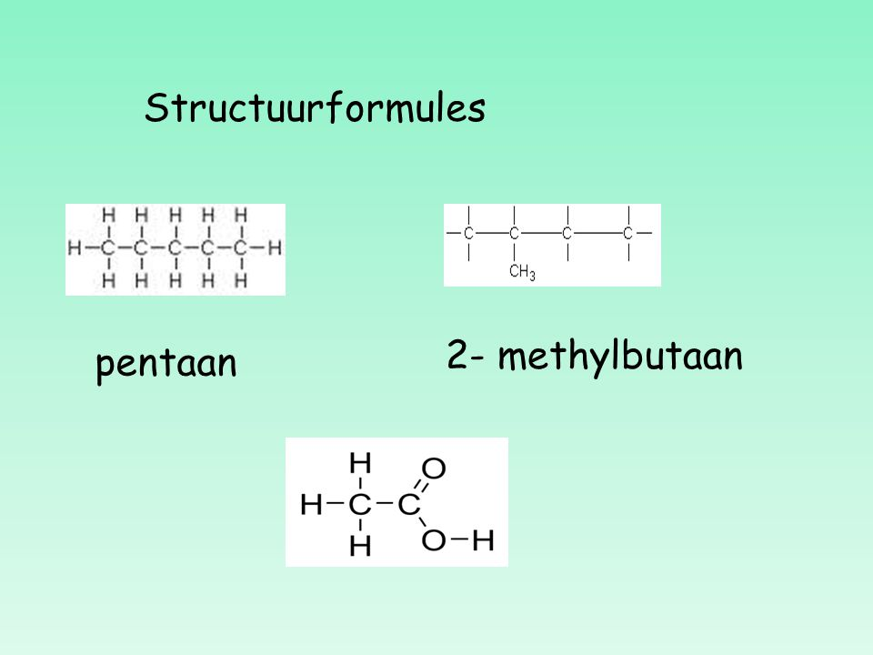 Structuurformules 2- methylbutaan pentaan