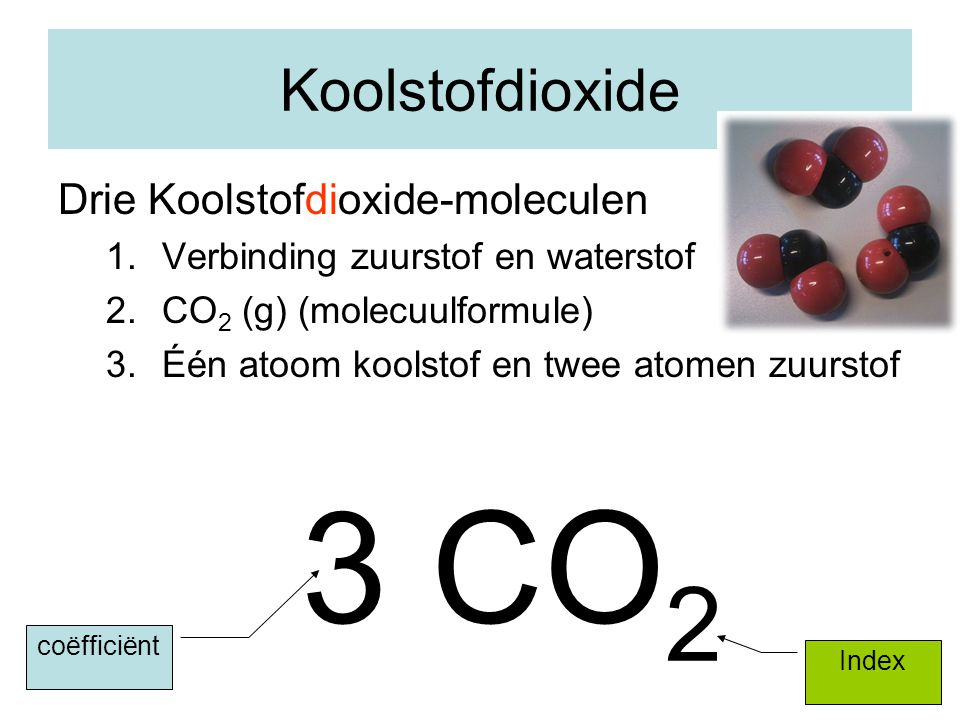 3 CO2 Koolstofdioxide Drie Koolstofdioxide-moleculen
