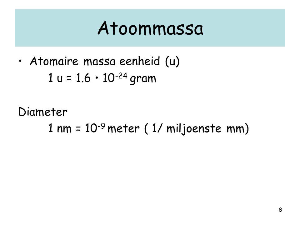 Atoommassa Atomaire massa eenheid (u) 1 u = 1.6 • 10-24 gram Diameter