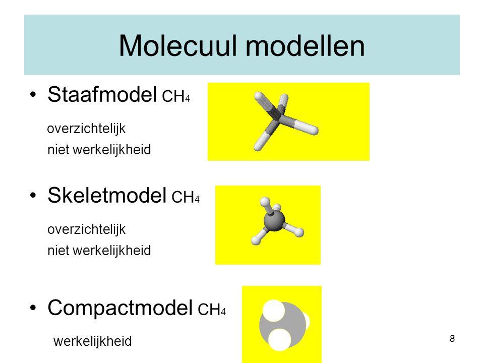 Molecuul modellen Staafmodel CH4 overzichtelijk Skeletmodel CH4