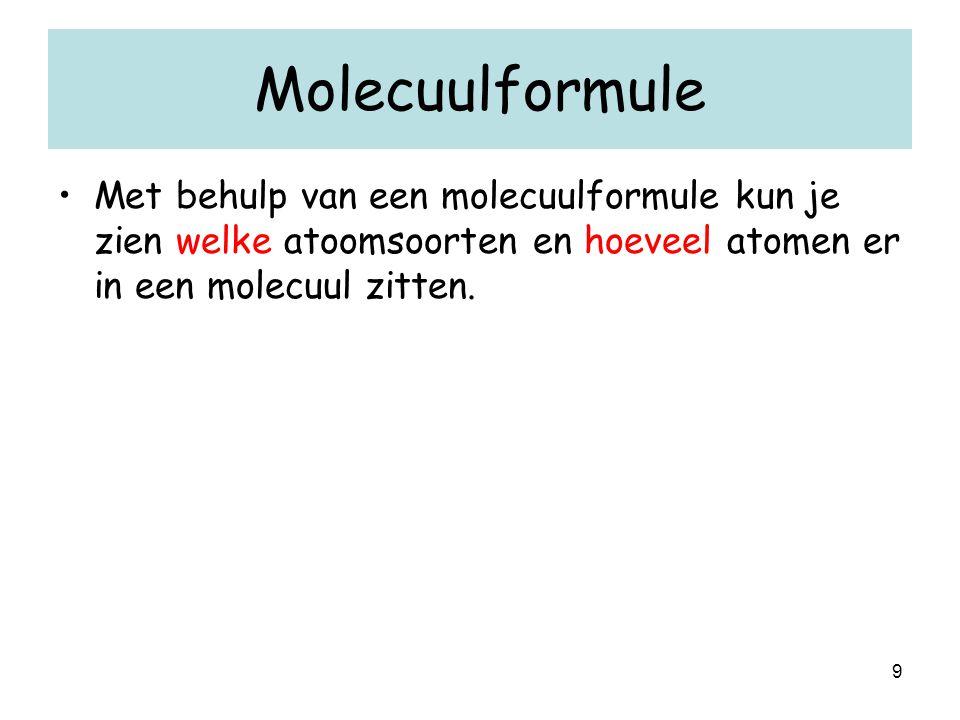 Molecuulformule Met behulp van een molecuulformule kun je zien welke atoomsoorten en hoeveel atomen er in een molecuul zitten.