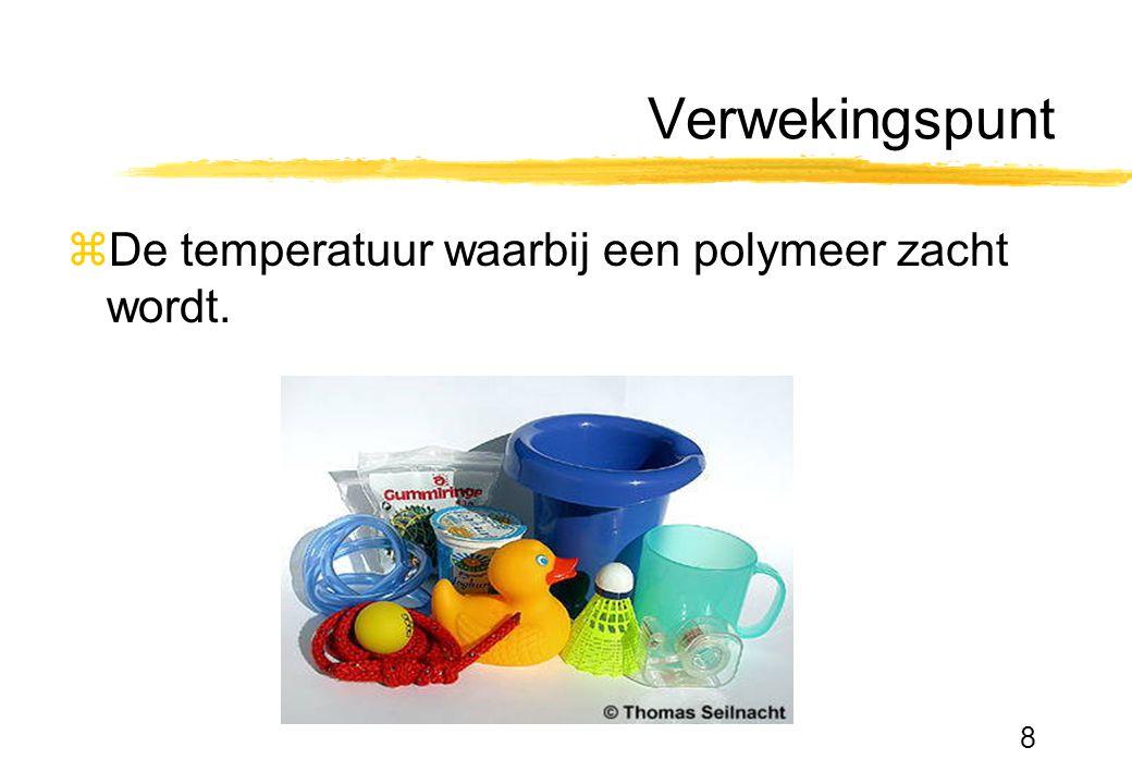 Verwekingspunt De temperatuur waarbij een polymeer zacht wordt.