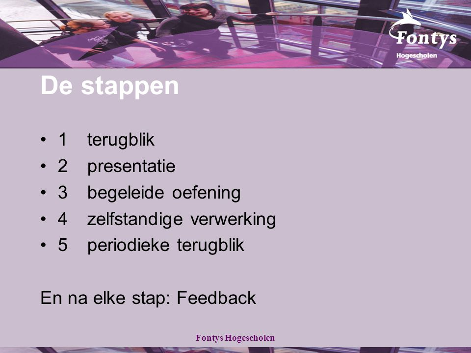 De stappen 1 terugblik 2 presentatie 3 begeleide oefening