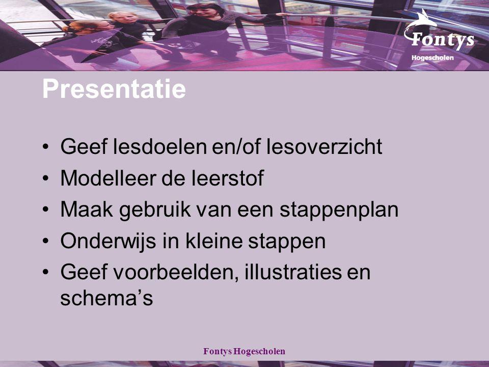 Presentatie Geef lesdoelen en/of lesoverzicht Modelleer de leerstof