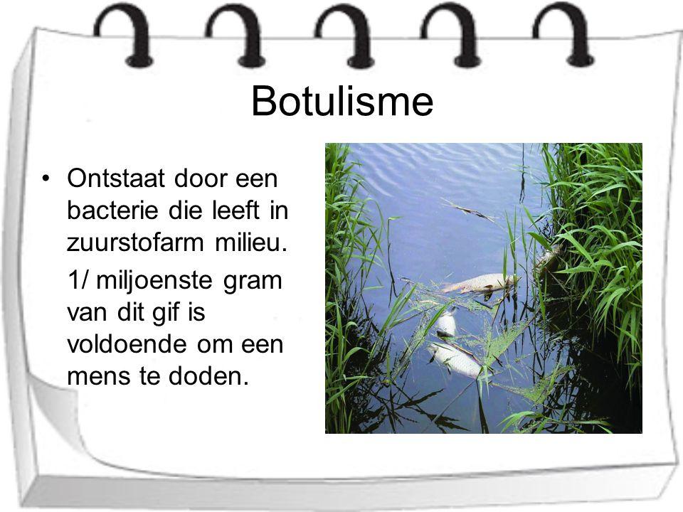 Botulisme Ontstaat door een bacterie die leeft in zuurstofarm milieu.