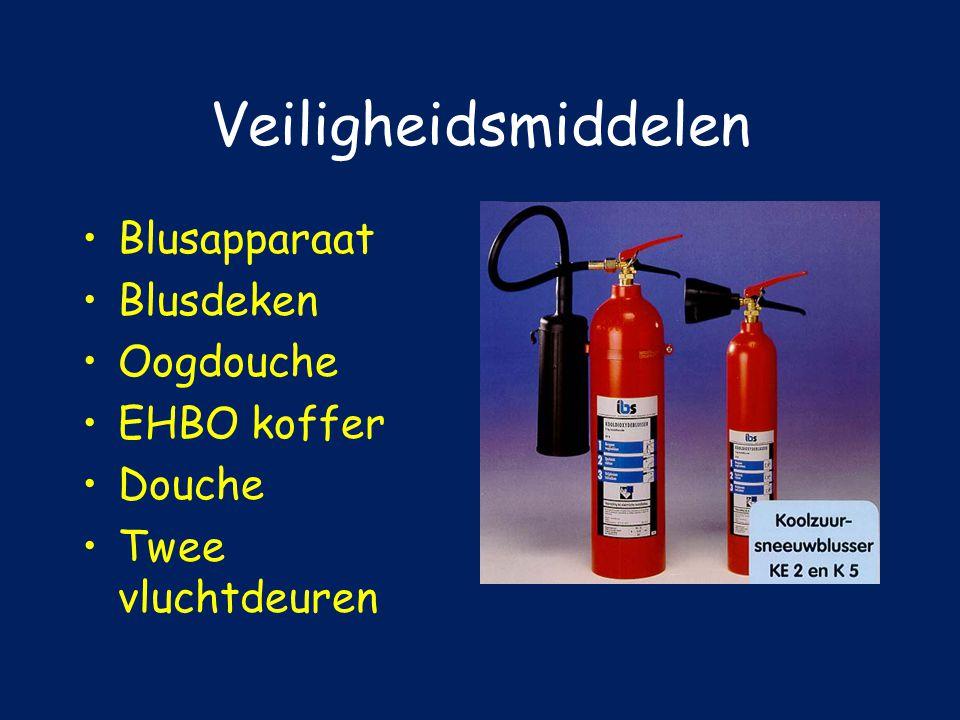 Veiligheidsmiddelen Blusapparaat Blusdeken Oogdouche EHBO koffer
