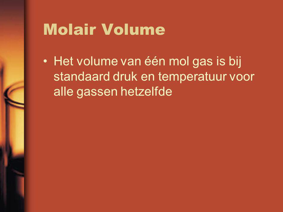 Molair Volume Het volume van één mol gas is bij standaard druk en temperatuur voor alle gassen hetzelfde.