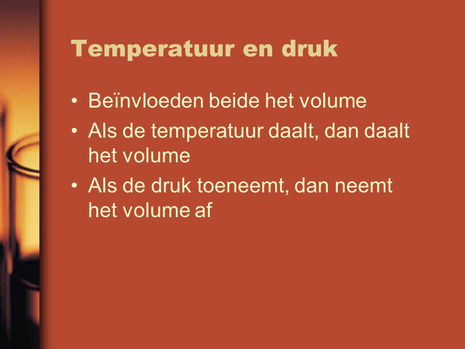 Temperatuur en druk Beïnvloeden beide het volume