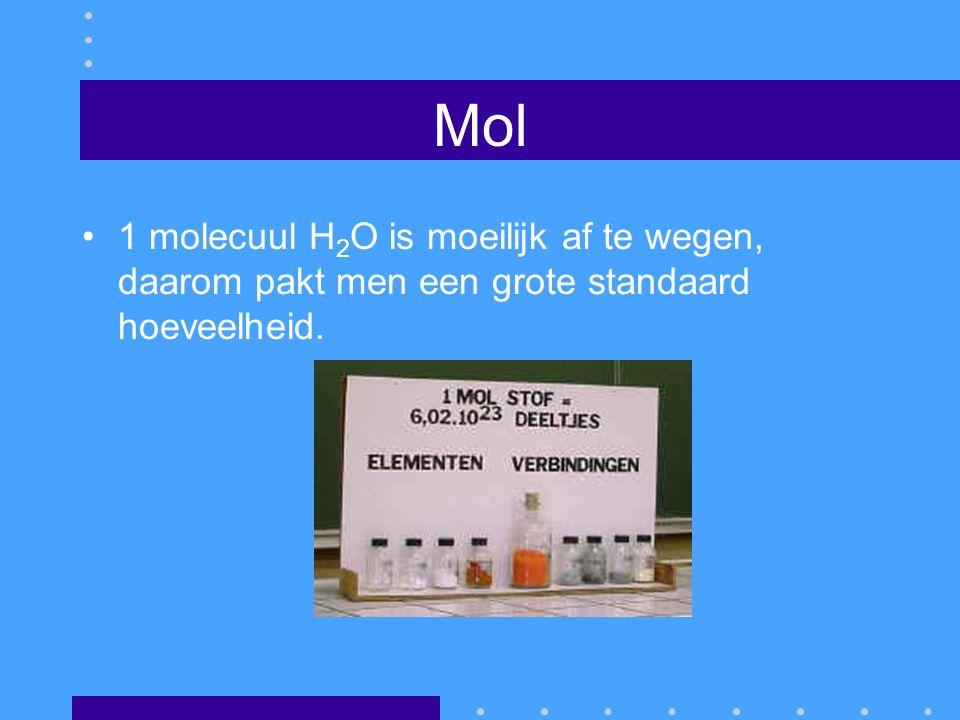 Mol 1 molecuul H2O is moeilijk af te wegen, daarom pakt men een grote standaard hoeveelheid.