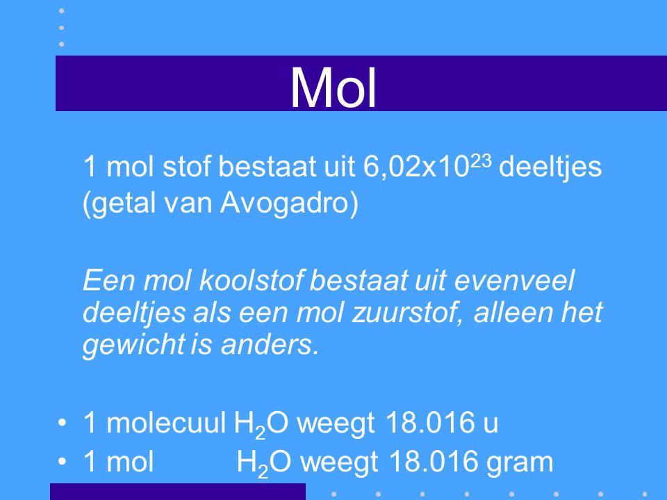 Mol 1 mol stof bestaat uit 6,02x1023 deeltjes (getal van Avogadro)