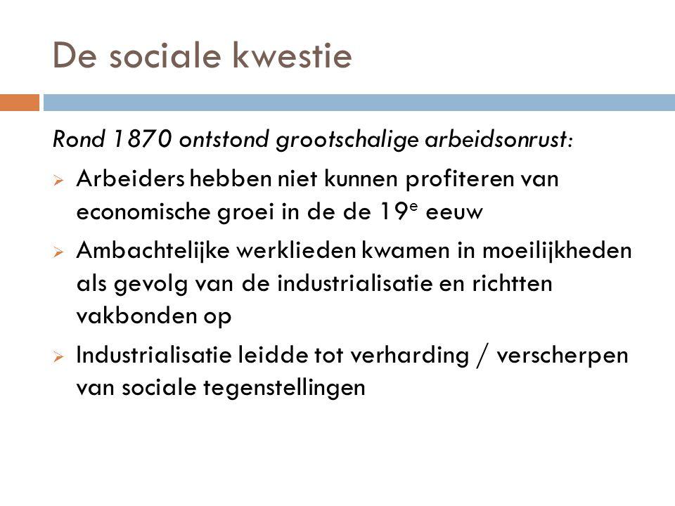 De sociale kwestie Rond 1870 ontstond grootschalige arbeidsonrust: