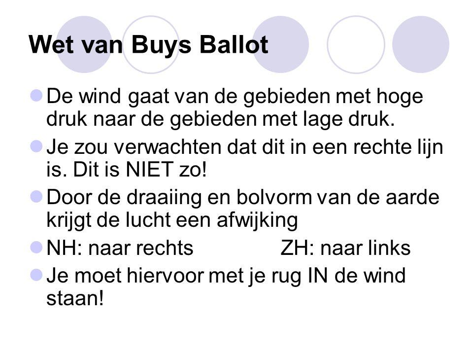 Wet van Buys Ballot De wind gaat van de gebieden met hoge druk naar de gebieden met lage druk.
