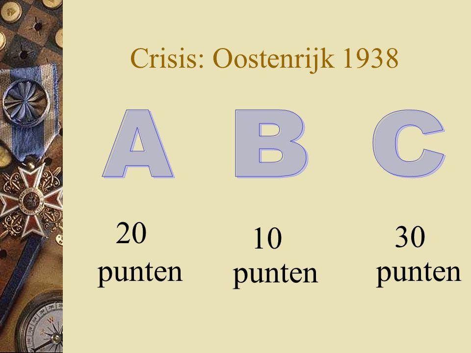 Crisis: Oostenrijk 1938 30 punten 20 punten 10 punten A B C