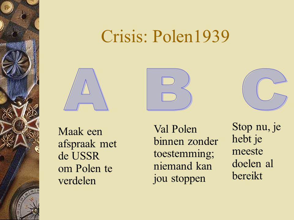 Crisis: Polen1939 A B C Stop nu, je hebt je meeste doelen al bereikt
