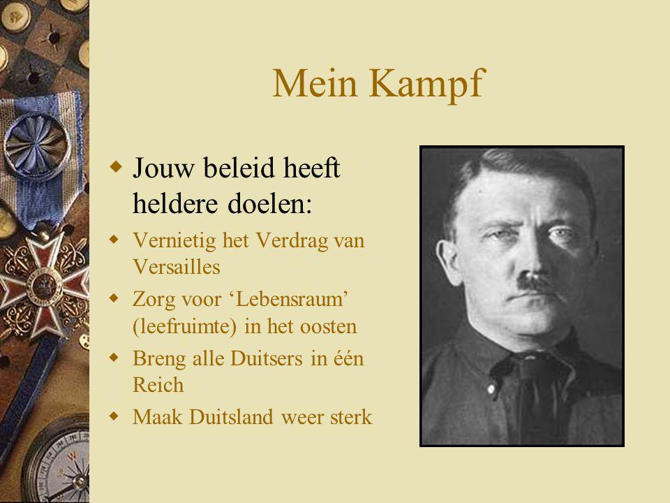 Mein Kampf Jouw beleid heeft heldere doelen: