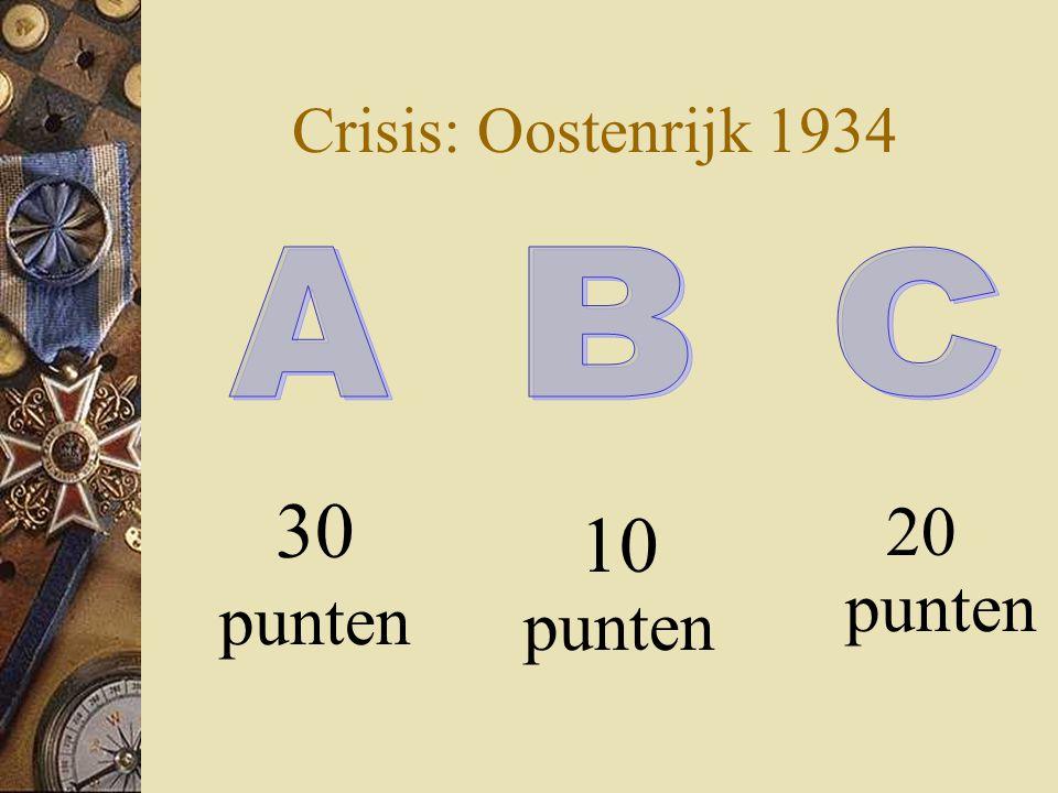 Crisis: Oostenrijk 1934 20 punten 30 punten 10 punten A B C