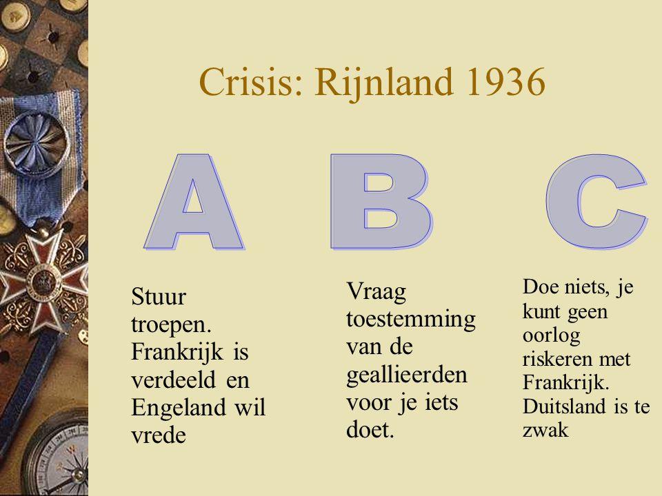 Crisis: Rijnland 1936 Doe niets, je kunt geen oorlog riskeren met Frankrijk. Duitsland is te zwak.