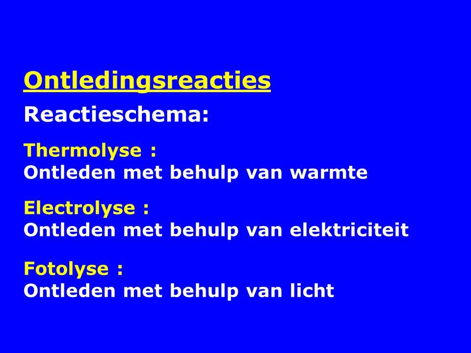 Ontledingsreacties Reactieschema: Thermolyse :