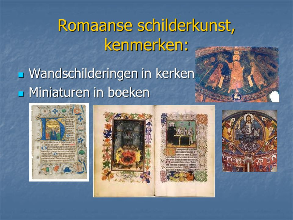 Romaanse schilderkunst, kenmerken: