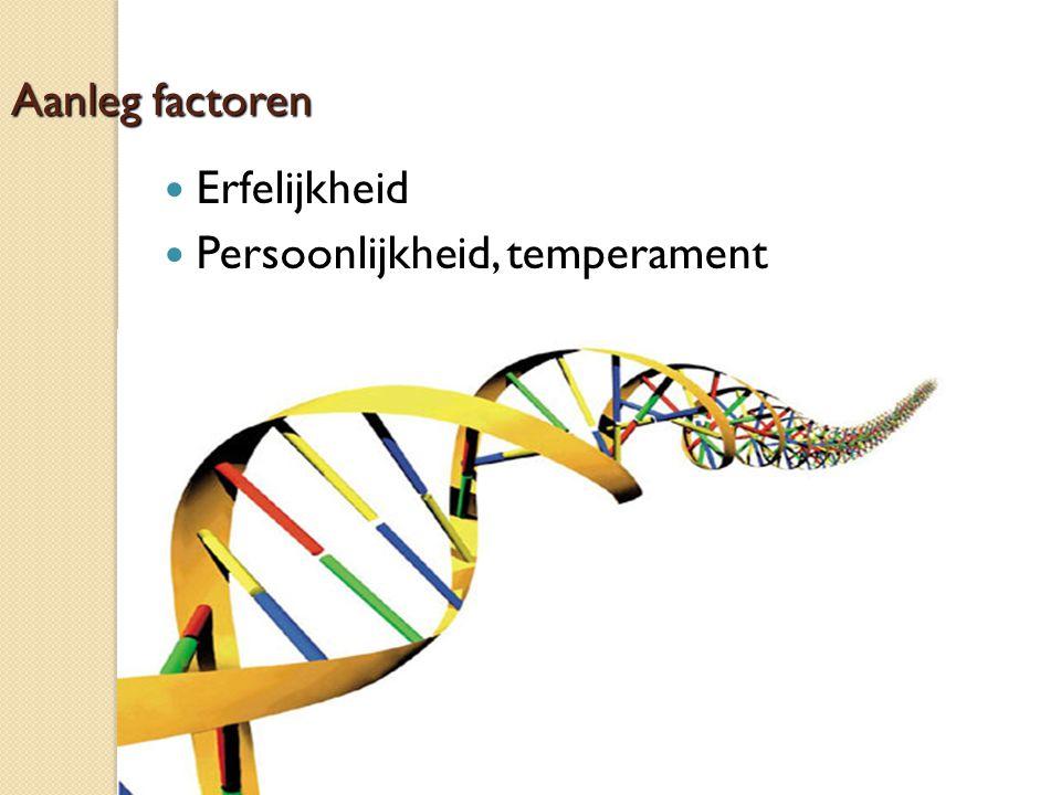 Aanleg factoren Erfelijkheid Persoonlijkheid, temperament