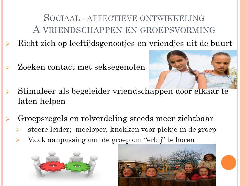 Sociaal –affectieve ontwikkeling A vriendschappen en groepsvorming