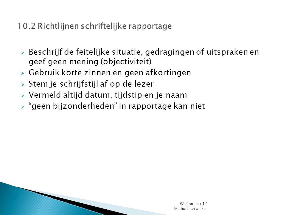 10.2 Richtlijnen schriftelijke rapportage