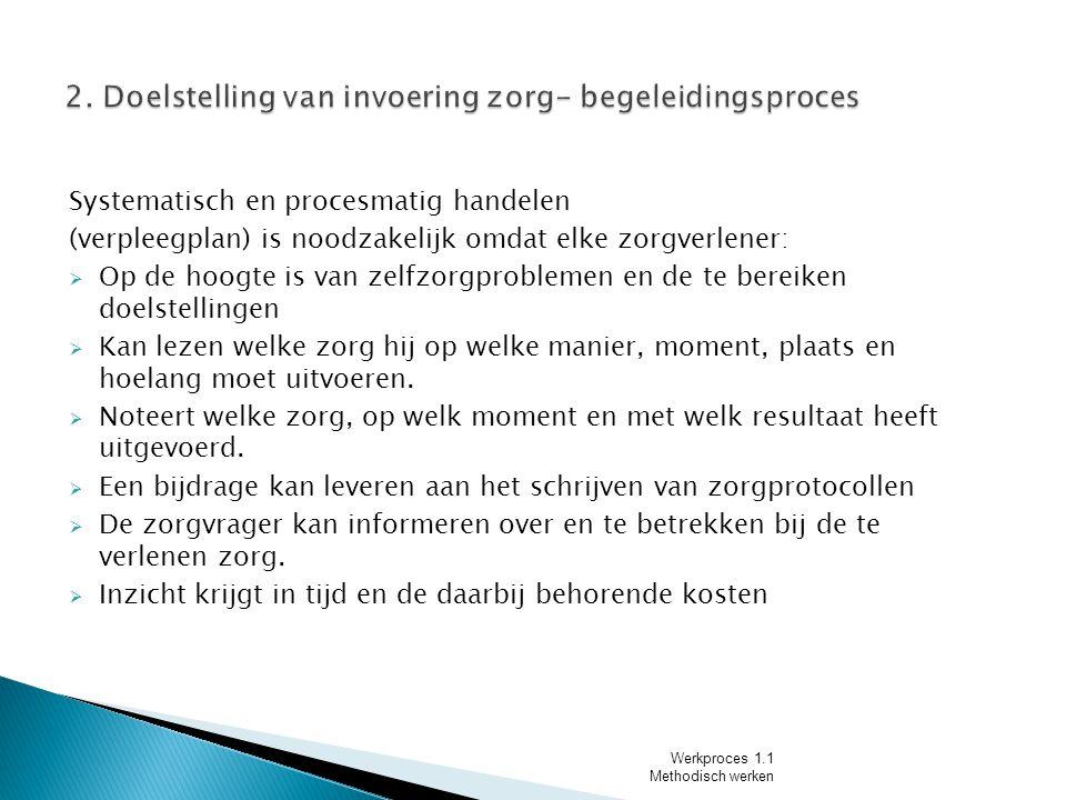 2. Doelstelling van invoering zorg- begeleidingsproces