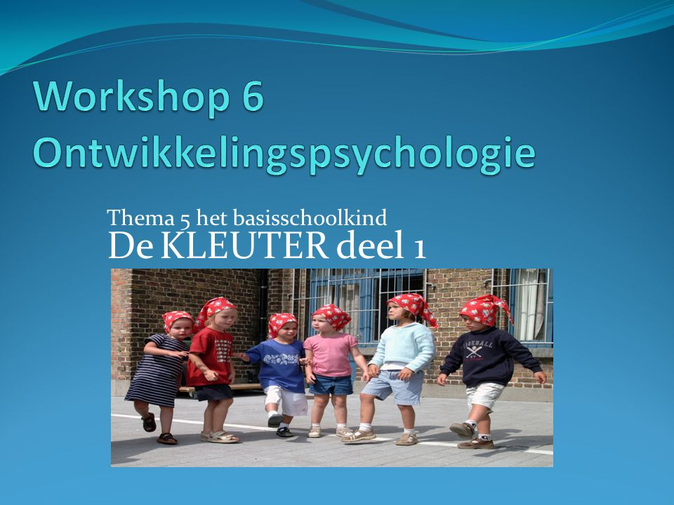 Workshop 6 Ontwikkelingspsychologie