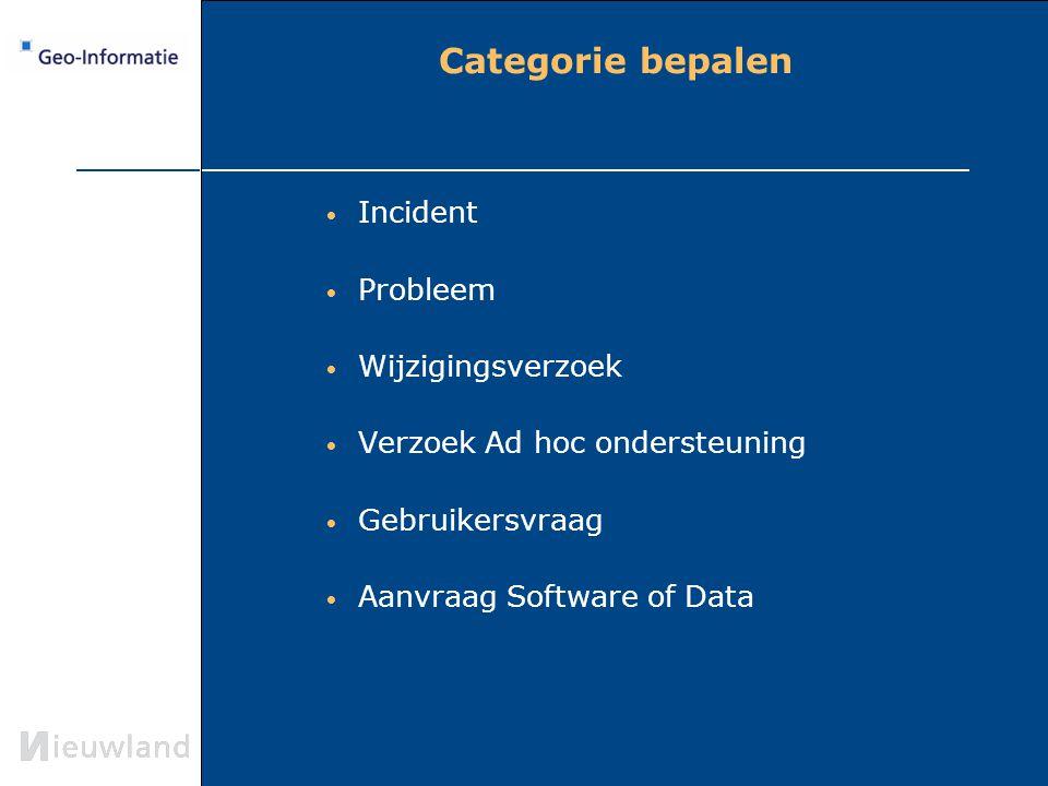 Categorie bepalen Incident Probleem Wijzigingsverzoek