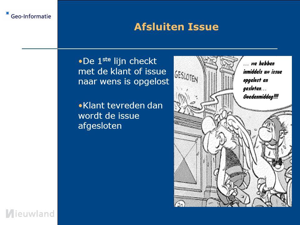 Afsluiten Issue De 1ste lijn checkt met de klant of issue naar wens is opgelost.