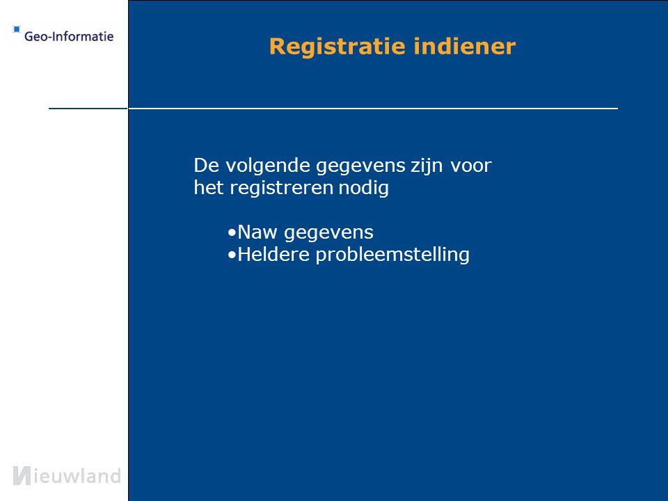 Registratie indiener De volgende gegevens zijn voor het registreren nodig.