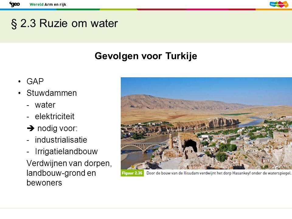 § 2.3 Ruzie om water Gevolgen voor Turkije GAP Stuwdammen - water
