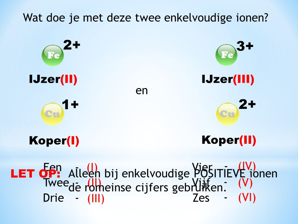 2+ 3+ 1+ 2+ Wat doe je met deze twee enkelvoudige ionen IJzer(II)