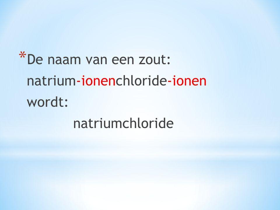 De naam van een zout: natrium-ionenchloride-ionen wordt: natriumchloride