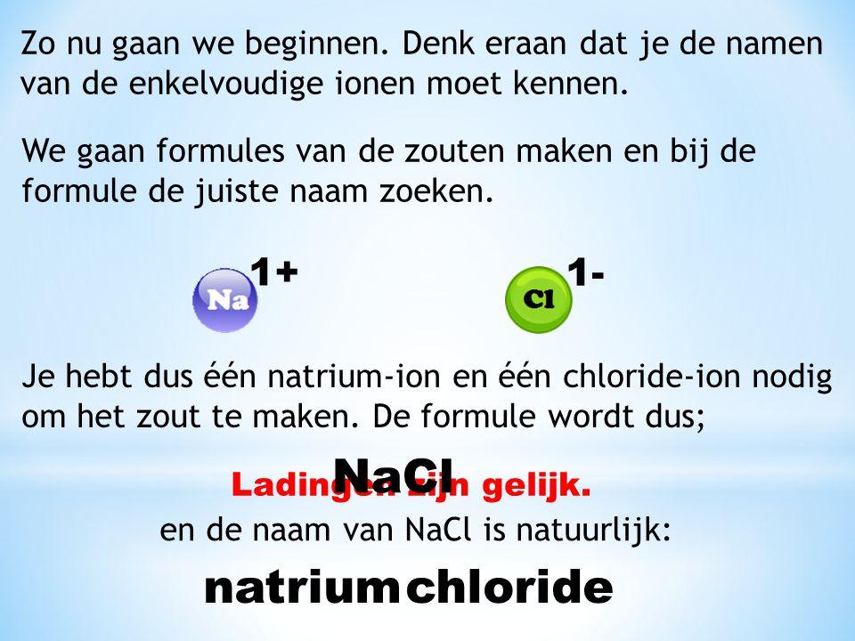 NaCl natrium chloride 1+ 1-