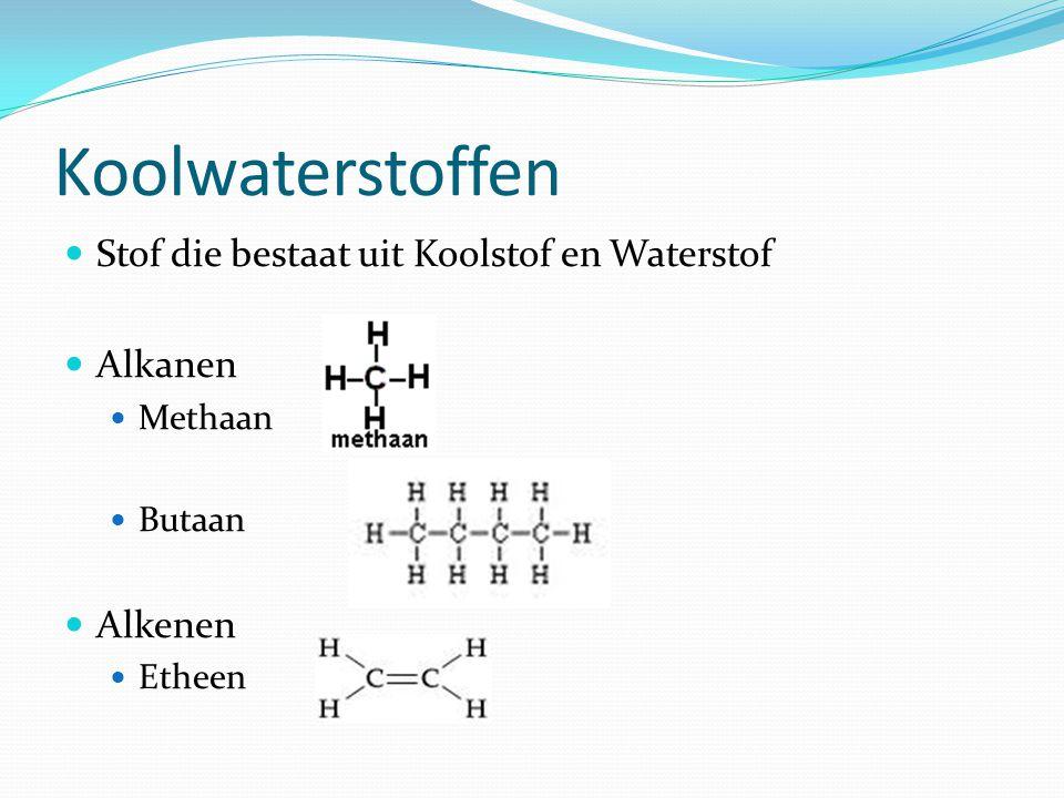 Koolwaterstoffen Stof die bestaat uit Koolstof en Waterstof Alkanen