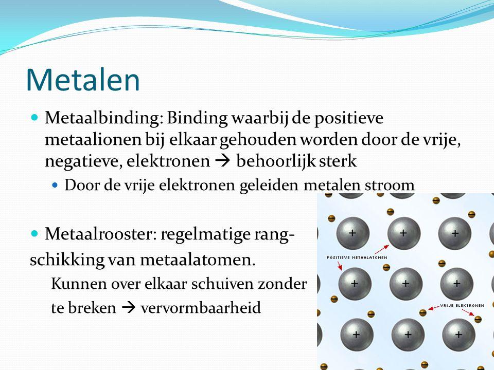 Metalen Metaalbinding: Binding waarbij de positieve metaalionen bij elkaar gehouden worden door de vrije, negatieve, elektronen  behoorlijk sterk.