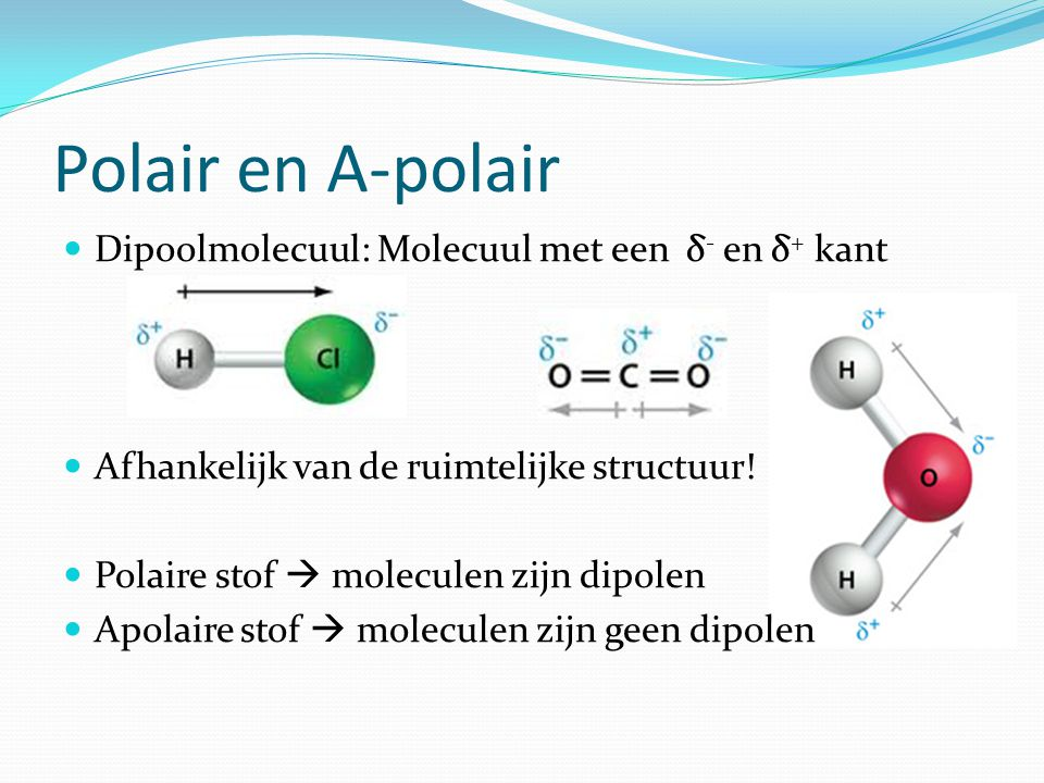Polair en A-polair Dipoolmolecuul: Molecuul met een δ- en δ+ kant