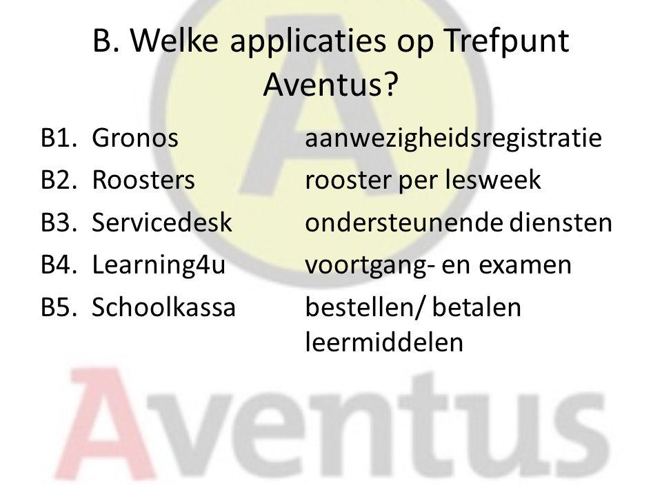 B. Welke applicaties op Trefpunt Aventus