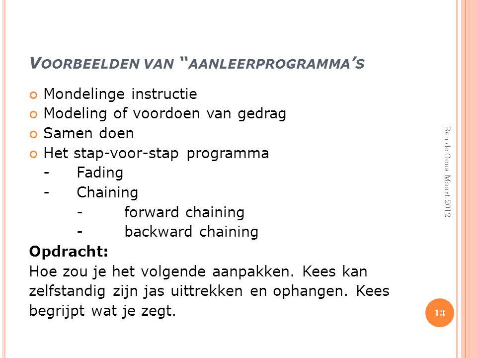 Voorbeelden van aanleerprogramma's