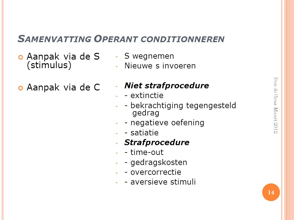 Samenvatting Operant conditionneren